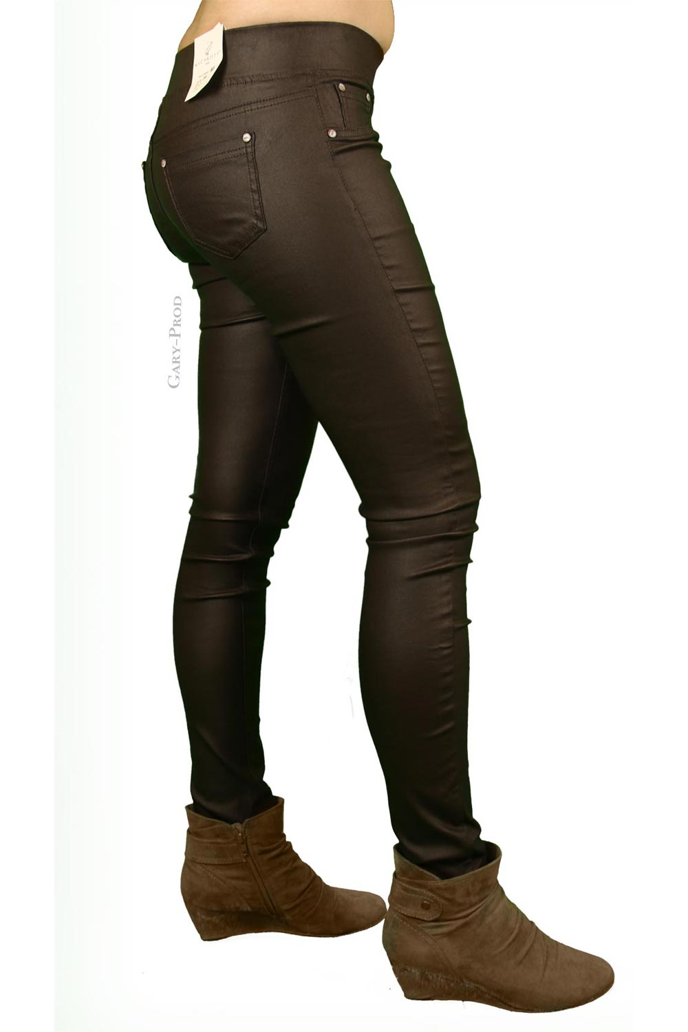 Pantalon huilé chocolat extra slim 'MY CHRISTY'