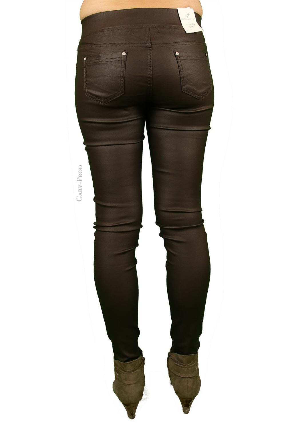 BM5017_5-38 - Pantalon huilé chocolat extra slim 'MY CHRISTY'