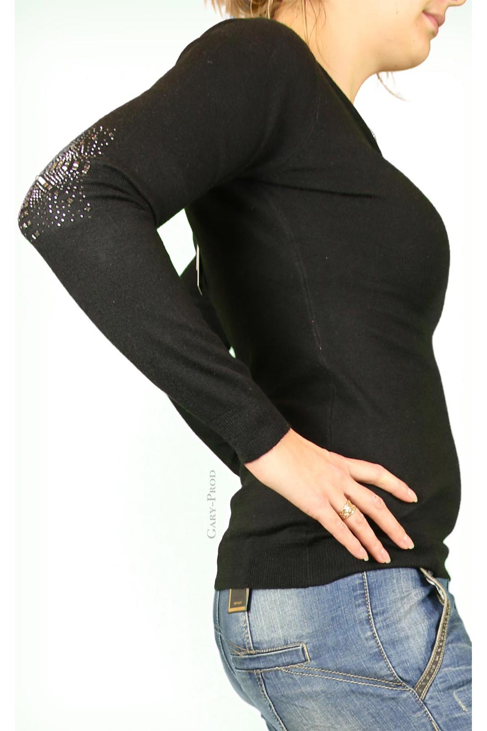 Pull noir, coude strass 'ENZORIA'