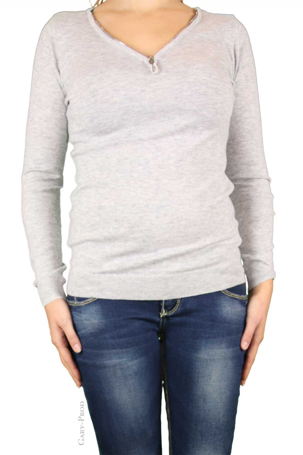 Pull gris, coude strass 'ENZORIA'