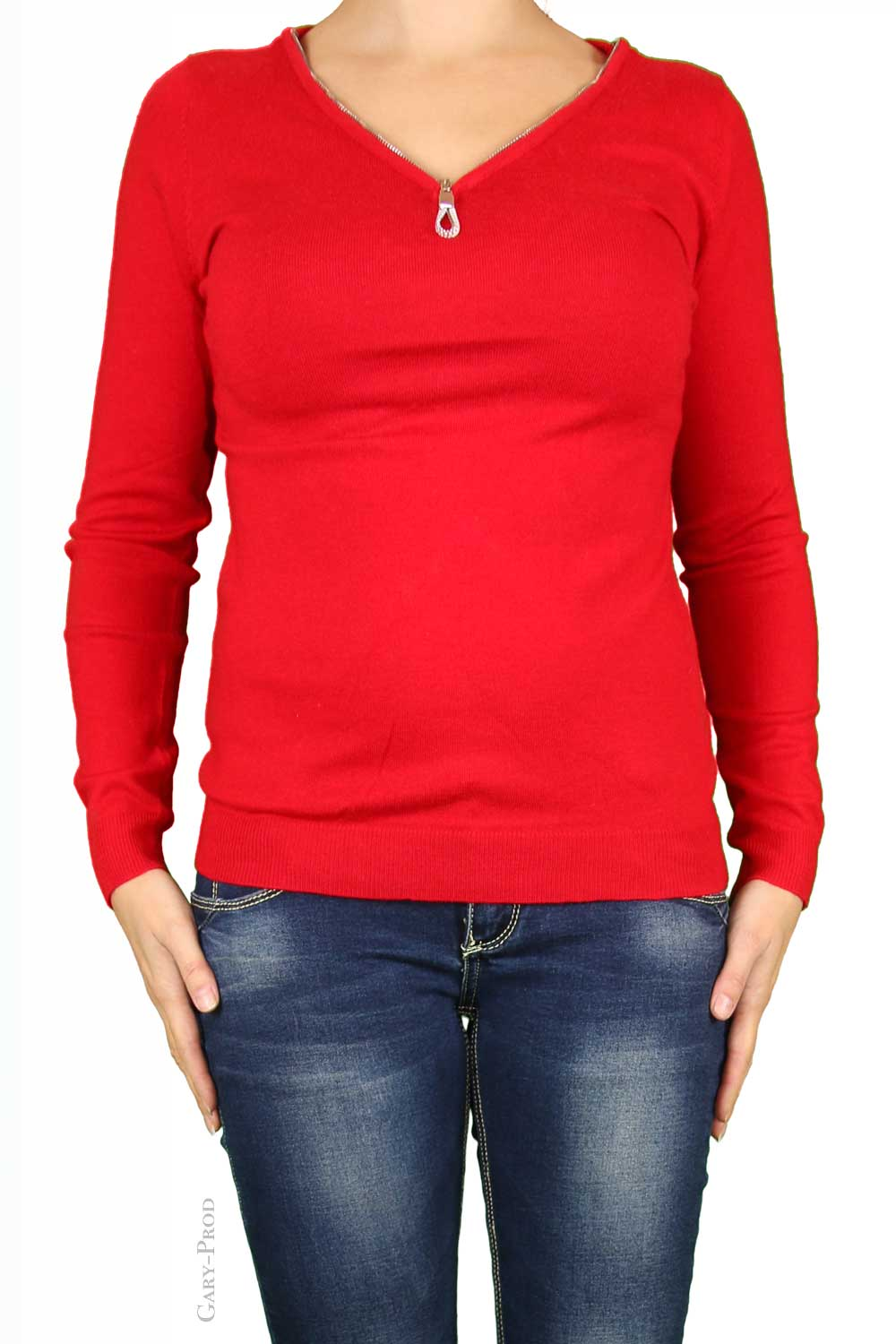 Pull rouge, coude strass 'ENZORIA'