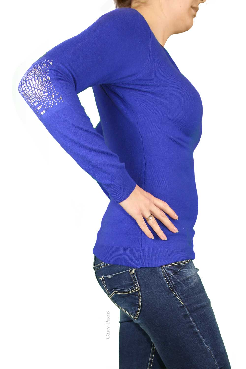 Pull bleu cyan, coude strass 'ENZORIA'