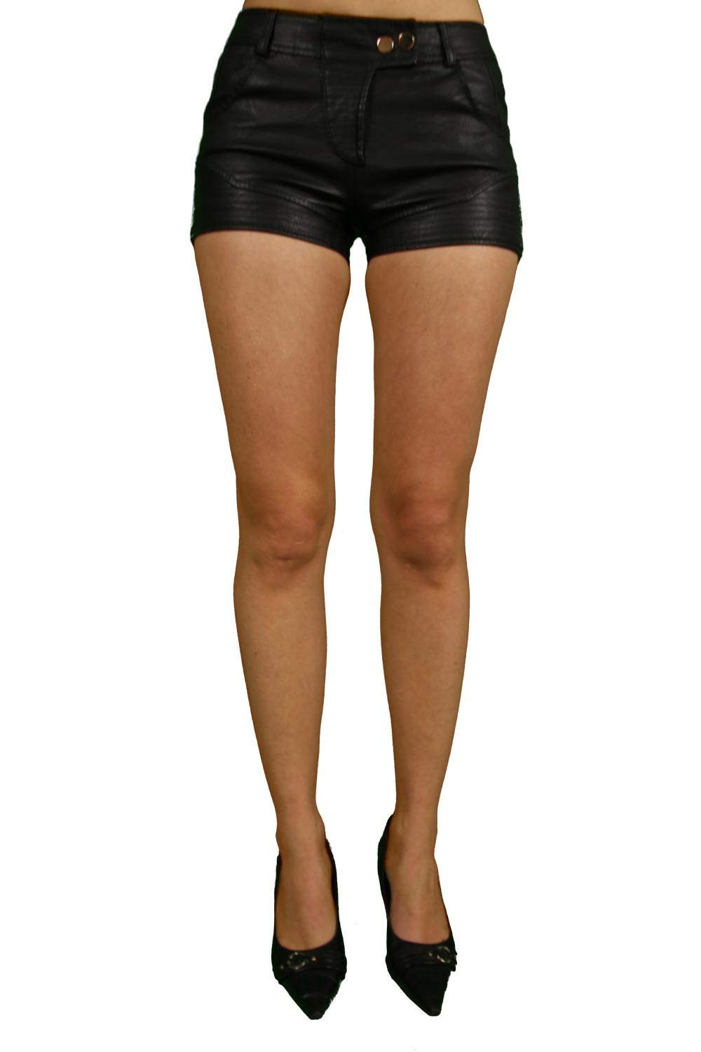 Mini short noir simili cuir 'OSLEY'